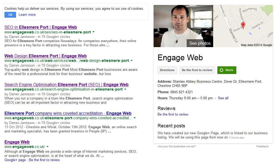 What the finished Google Local Listing and combined Google+ Page displays in Google