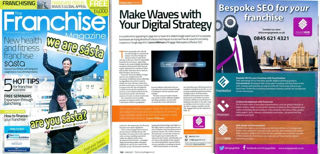 Engage Web features in The Franchise Magazine