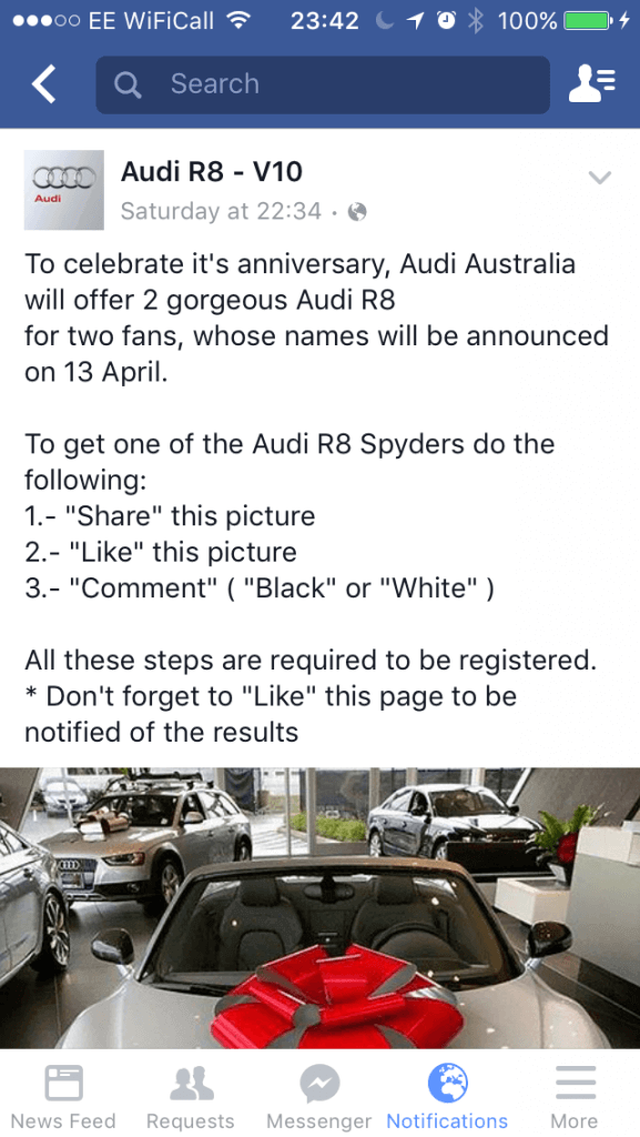 Audi Scam on Facebook