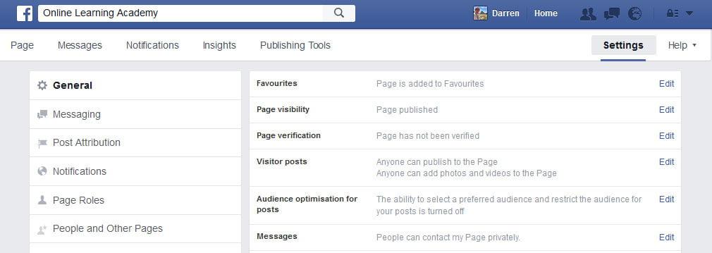 Facebook Page Verification
