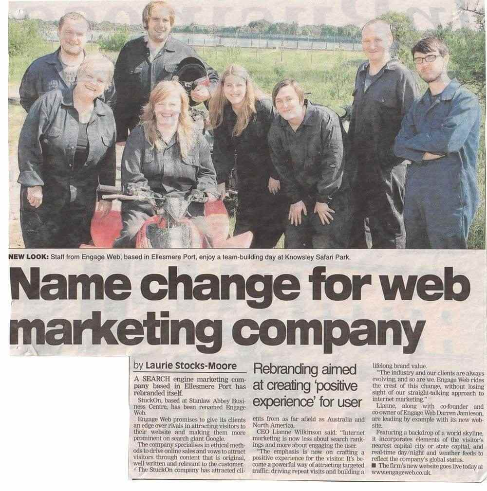 Company rebrand to Engage Web